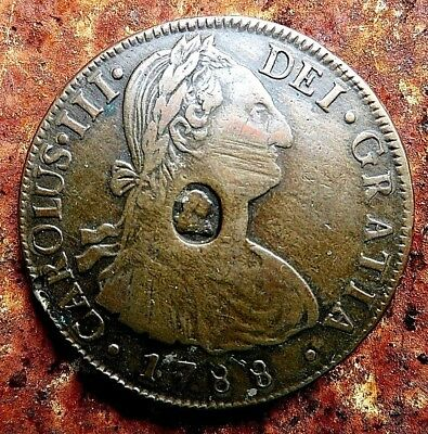 1788 8 Reales Birmingham Contemporary Forgery King George Counterstamp Brass
