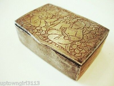 very old etched SNUFF BOX iron? ROUGHLY HEWN praying