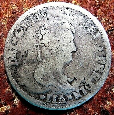1820 8 Reales Mo War For Independence Ca Royalists Counterstamp Double Portrait