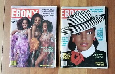 Vintage Ebony Magazine 1982 May June Lot of 2  WHAT HAPPENED TO THE AFRO?