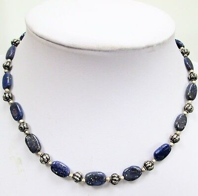 Good quality vintage silver metal & lapis bead necklace