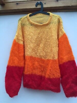 Vintage Hand Knitted Bright Red/yellow/orange Oversize Mohair Jumper. M/l