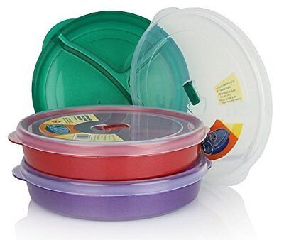 3 Sets Microwaveable Food Storage Tray Container 3 Section Divided Plates w/ Lid