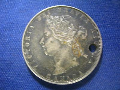 CANADA - 1870 LCW silver 50 Cents - HOLED uncleaned original - VF-XF