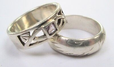 Fine vintage sterling silver & citrine Celtic design band ring + 1