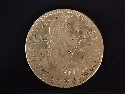1778 Mexico Eight Reales SILVER 8R Coin CAROLUS III CHOP MARKS Start At 99 Cents