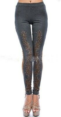 25d605376b1a6e Vocal Crystal Taupe Gray Camel Floral Suede Usa Bling Leggings Pants S M L  Xl