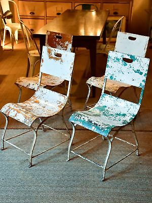 Four antique French garden chairs