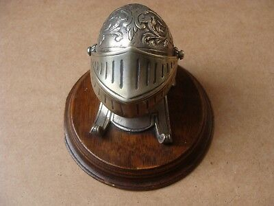 Antique Victorian Silver Plated Knight Helmet Novelty Inkwell
