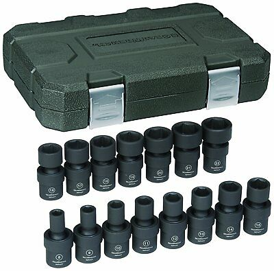 "GearWrench 84918 15 Pc. 3/8"" Drive 6 Point Universal Impact Metric Socket Set"