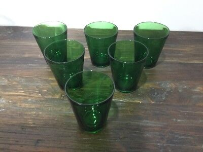 Vintage Vereco France Emerald Green Glass Cups, set of 6.
