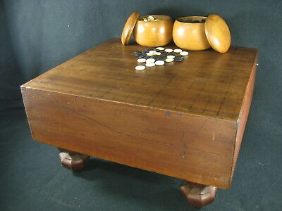 Antique Japanese Thick  Kaya Wood Go Game Board Goban Hand Carved Wooden Legs