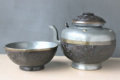 19Th C Chinese Carved Coconut Shell - Pewter Bowl & Teapot