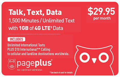 PagePlus $29.95/Month Refill Top Up--1500 Minutes, 1GB 4G LTE DATA via INSTANT