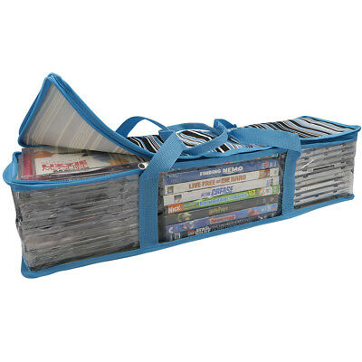 Evelots CD/DVD Storage Bag-2 in 1-Hold 48 CDs&16 DVDs Total- Blue Stripes, Set/2