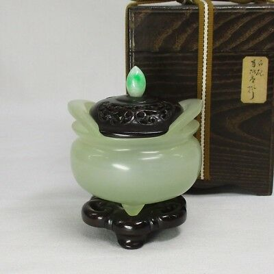 D580: Chinese green stone incense burner with fantastic wooden lid and stand