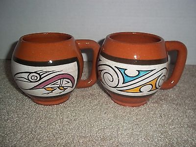 Panama Latin Folk Art Hand Made/Painted Round Coffee Terracotta Pottery Mugs(2)