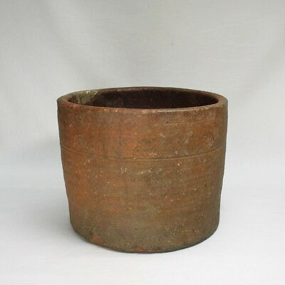 D694: REAL Japanese old BIZEN pottery saggar as vase over 400 years ago