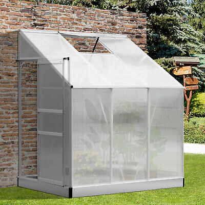6' x 4' Polycarbonate Lean to Greenhouse Aluminum Cold frame Sun Room Grow Plant