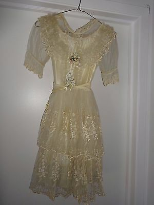 "Vintage First Communion Off White/ Cream Lacey Dress w/ Under slip 30"" Bust"