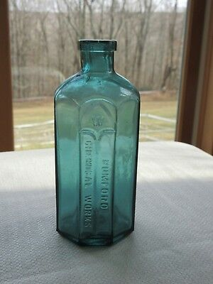 Beautiful Teal Blue Rumford Chemical Works Octagon Antique Embossed Bottle