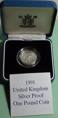 1991 £1 ONE POUND UK GB Sterling Silver Proof Coin +COA & BOX LOW MINTAGE 25,000