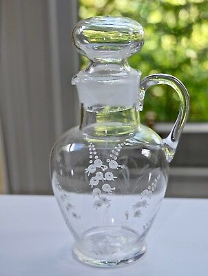Victorian Clear Mary Gregory LILY OF THE VALLEY Jug with Stopper - Ground Pontil