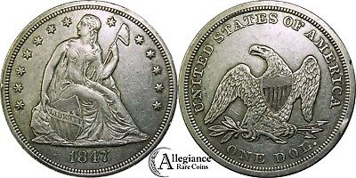 1847 $1 Seated Liberty Silver Dollar AU+ rare old type coin money high grade