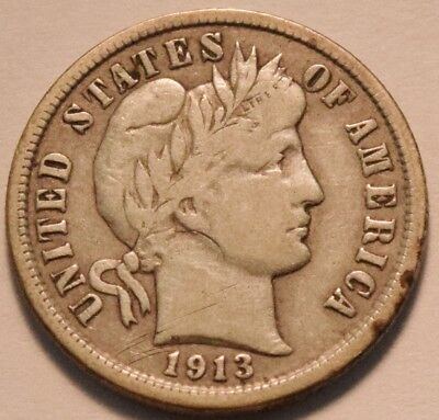 1913 S Barber Dime, Scarce Date, Full LIBERTY, Middle Grade Det. Silver 10C Coin