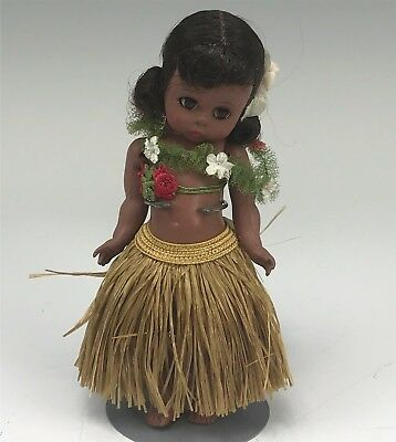 "Vintage Madame Alexander 8"" Hawaiian Doll in Grass Skirt Needs to be Restrung"