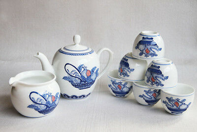 Fine painting San Duo Chinese Blue and white porcelain tea set of 8 Handpainted