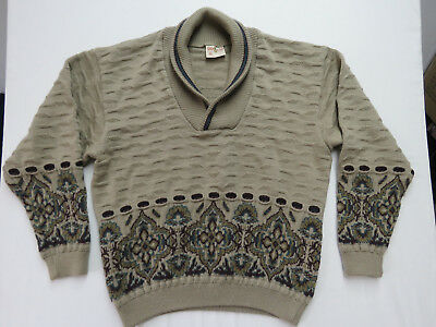vintage 80's Geccu Coogie Style Sweater Multi Color Wool Mens xl Australia made