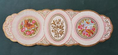 """1800s antique 11.75"""" victorian EMBOSSED LABEL FABRIC? pink BUTTERFLY BIRD FLORAL"""