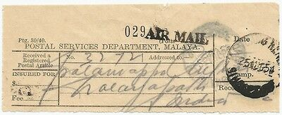 Singapore 1954 KANDANG KERBAU registration receipt wi AIR MAIL hs not in Proud