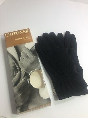 Vintage Aris Isotoner Suede Gloves NEW in box  Large L NEW Black Mens w/ stretch
