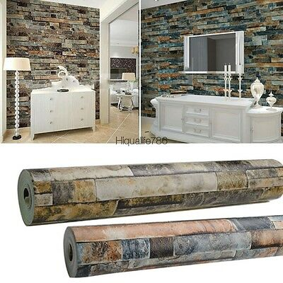 Modern 10M Roll Stacked Brick/Stone Wallpaper Blue /Beige Vinyl Wallpaper