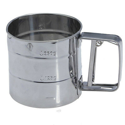 Stainless Steel Flour Sifter Cup Baking Icing Sugar Shaker Strainer Sieve P Q7R3