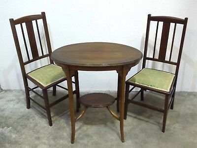 Antique Edwardian Inlaid Mahogany Two Tier Table with Two Matching Chairs  (15)