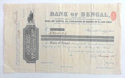 Bank of Bengal India 1886 Share Certificate
