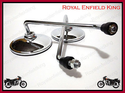 2 Set - New Royal Enfield Pair Side Chrome Mirror Set - Universal