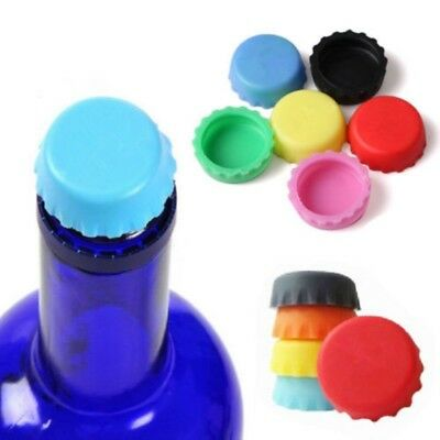 6pcs Reusable Silicone Bottle Caps Beer Soda Lid Wine Soft Drinks Saver Random