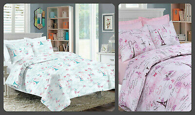 French Inspired Paris Eiffel Pink Duvet Quilt Cover Bedding Set & Pillowcases