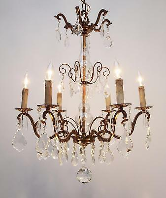 Lovely vintage / antique FRENCH CRYSTAL BRASS CHANDELIER 6 light ceiling lamp