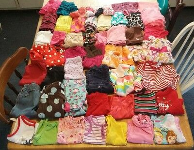 Huge 64 piece lot of baby girl clothes size 12 months,pants,shirts,etc