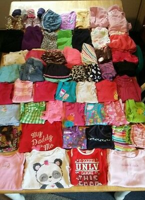 Huge 72 piece lot of baby girl clothes size 18months, shirts, pants, etc
