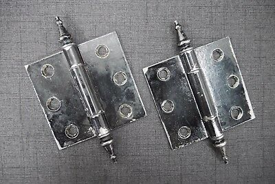 "Antique Vintage Hinges 3"" X 3"" Early 1900's Pair Steeple Tip Hinges"