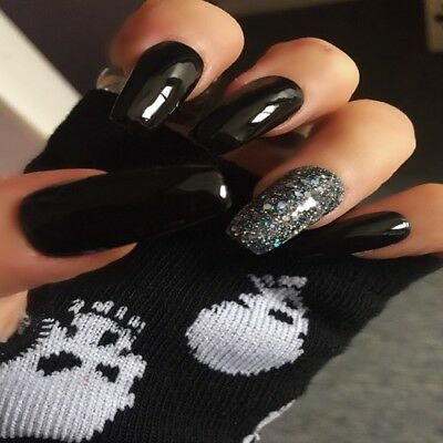 Hand Painted False Nails Black & Diamond Gel Coffin Full Cover Press On Nails