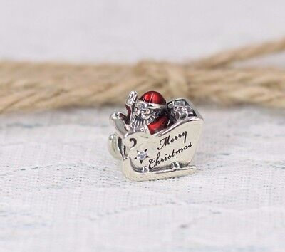 Pandora S925 Ale Father Xmas Sleighing Santa Charm 792004CZ +Tissue + Pop-up Box