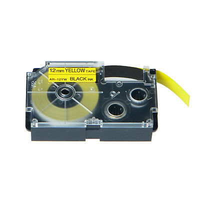 """20PK XR-12YW Black on Yellow Label Tape for Casio KL-60 100 7000 8200 8800 1/2"""""""