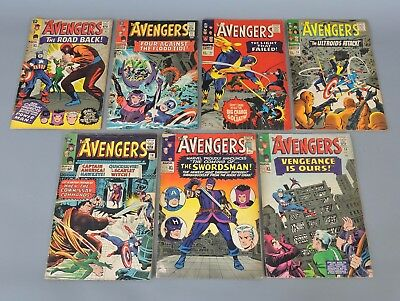 Marvel Comics: Collection of 7 Vintage 'The Avengers' Comic Books 1965-1966